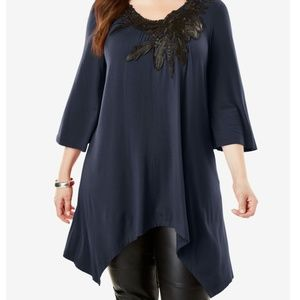 Roaman's NWT Appliqué Drape Tunic Top